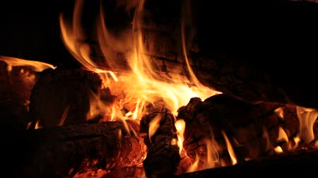 fireside : Burning firewood on fireplace, campfire