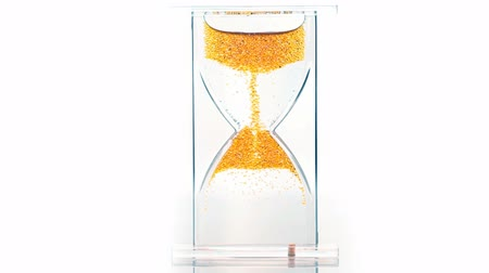 areias : Hourglass with a red gel bubbles lifting up above white background