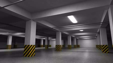 garagem : Empty dark underground parking interior. 3d animation with camera rotation   Vídeos