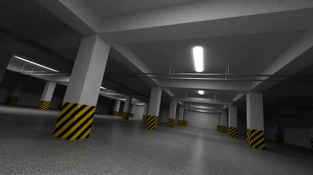 parc automobile : Course de circuit sans fin rapide sur un parking souterrain sombre vide. 3d animation