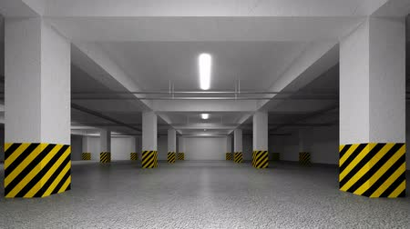 garagem : Slow trip through Underground parking interior. 3d animation Vídeos