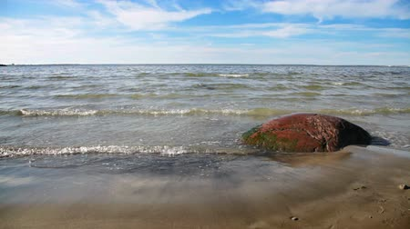 baltské moře : The waves of the Baltic Sea are rolled on a sandy beach with a red granite stone