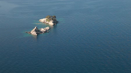 Two famous small Islands in Adriatic Sea nearby Petrovac resort town, Montenegro Stock mozgókép