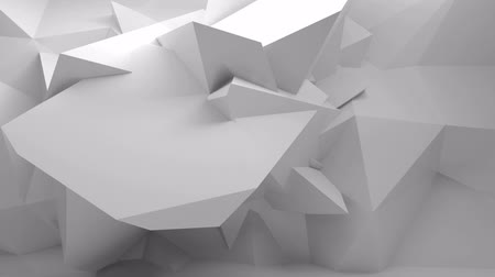 gray background : Endless full-hd motion loop. Moving abstract 3d white background with chaotic polygonal structure on the wall in empty digital interior Stock Footage