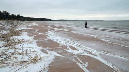 Coast of Baltic sea, winter beach landscape with walking person Stock mozgókép