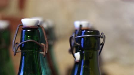 Green bottles with a vintage cap
