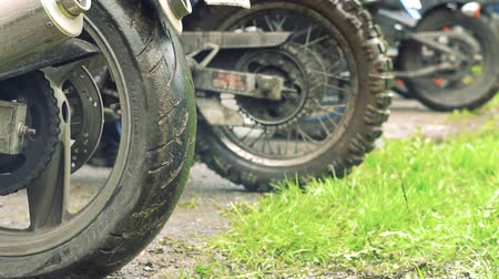extreme close up : Russia, Novokuznetsk - 26.05.2018: motorcycle wheel slips Stock Footage