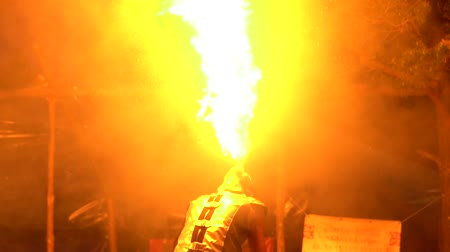 плевать : Berdsk, Russia - June 03,2018: fire show on the street Стоковые видеозаписи