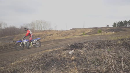motorbike jump : Novokuzneck, Russia - 21.04.2018: motocross competitions