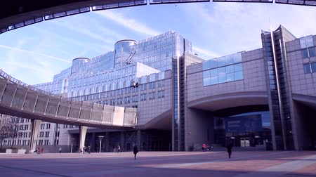 união europeia : European parliament in Brussels (Belgium). Stock Footage