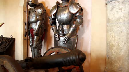 forging sword : VIANDEN, THE LUXEMBOURG - AUGUST 03 2014: Vianden Castle, Medieval Festival, Armors. Stock Footage