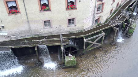 определенный : Old water mill in small town Saarburg (Germany). Стоковые видеозаписи