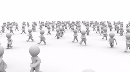 Beautiful dynamic 3d white cartoon crowd running