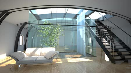 moderní : flight throught modern interior with garden