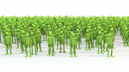Crowd green characters with hands wave with shadows Vídeos