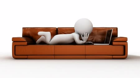 Cartoon 3d human rest on a brown sofa with laptop Vídeos