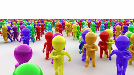 Beautiful 3d color cartoon humans running on camera