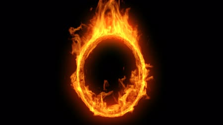 Burning circle or ellipse frame with fire flames