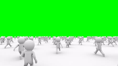 caracteres : Beautiful dynamic 3d white cartoon crowd running from the camera to green screen