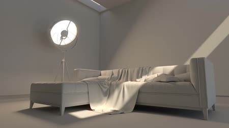 arejado : Modern interior. Contemporary architecture space animation with sofa
