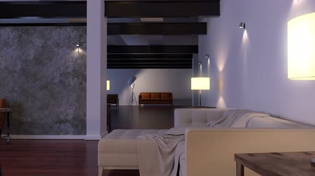 moderní : Modern interior. Contemporary architecture space animation with sofa
