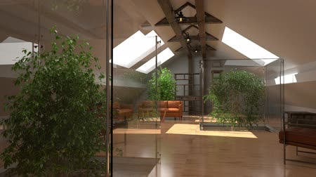 interiér : Modern interior. Eco home, green house. Contemporary architecture space animation with sofa and green plants