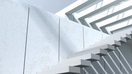 имущество : Modern architecture. Exterior, patio, stairs with white walls and sunlight Стоковые видеозаписи