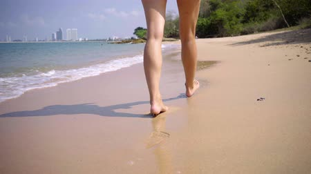 delgado : Woman legs near the sea on the sand. Beautiful, long and smooth woman legs go along the sand near. 4k.