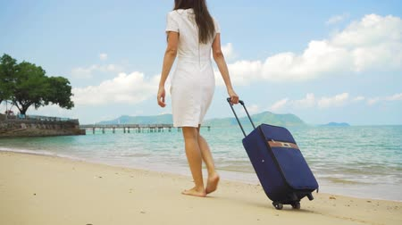 impatience : Business woman walks along the shore of a beautiful sea with a suitcase. freelance concept, long-awaited leisure concept Stock Footage