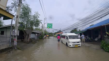 typhoon : Pattaya, Thailand - April 02, 2019: flooded streets and roads after tropical rain Stock Footage