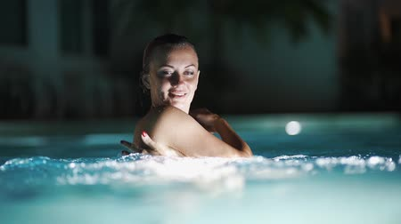 maravilhoso : Wonderful Diving. Portrait Of Attractive Girl. Relax In The Pool At Night.