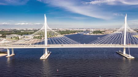 stayed : The cable-stayed bridge across the Petrovsky fairway of the western high-speed diameter. St. Petersburg. Russia