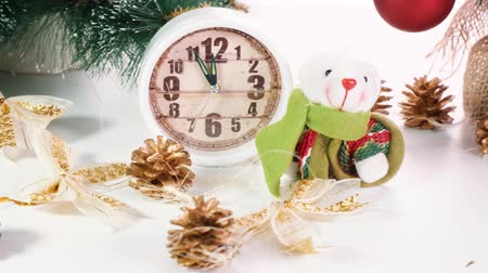 tebrik etmek : Happy new year 2020. Christmas composition with artificial rat, symbol of the year. Toy Rat near a Christmas tree, gift boxes and watches Stok Video