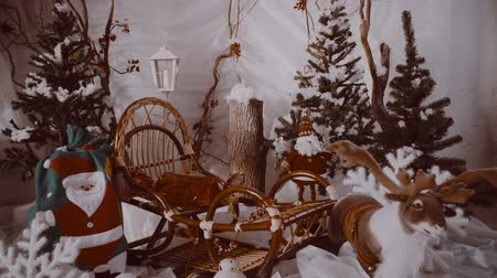 ladin : Christmas tree, holiday gifts, vintage, retro style Stok Video