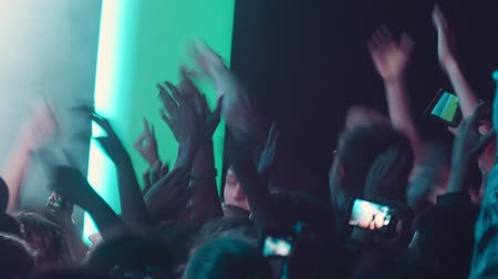 rock concert : dancing audience, public on rock concert Stock Footage