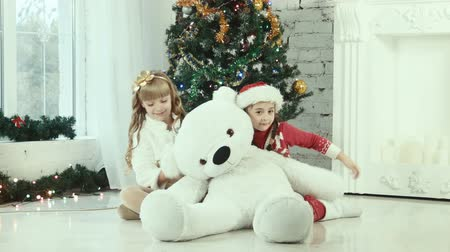 toy : Two girl hiding behind the christmas bear and smiling at the camera
