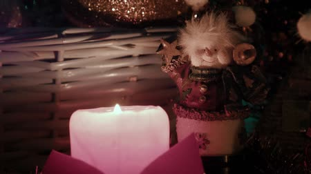 martwa natura : Candles balls and bears on the table Christmas atmosphere Wideo