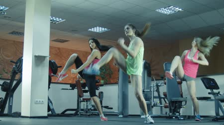 sınıf : Three females stepping together in fitness gym on steps