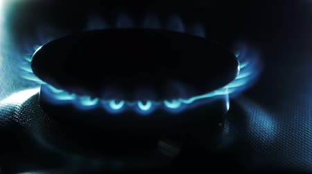 alevler : Gas inflammation in stove burner, close up view