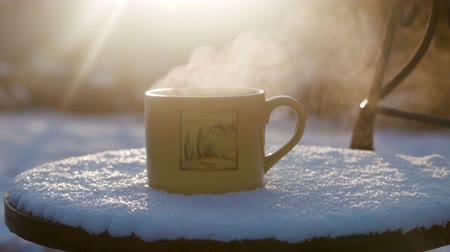 hot beverage : Cup with hot tea against the sun in the winter Stock Footage