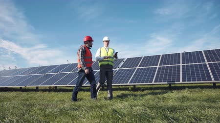 sluneční : Two male electrician workers in reflective vests and hard hats walking in between long rows of photovoltaic solar panels and talking about installation of new solar panels Dostupné videozáznamy