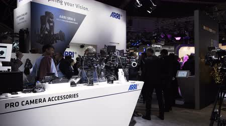 Netherlands, Amsterdam - September 16, 2018: Arri stand on ibc 2018 exhibition, visitors looking at the arri cameras
