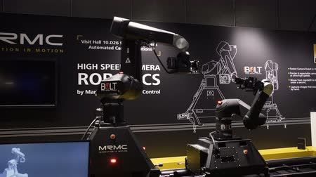 Netherlands, Amsterdam - September 16, 2018: Dance show of robotic cameras Bolt on international exhibition ibc.