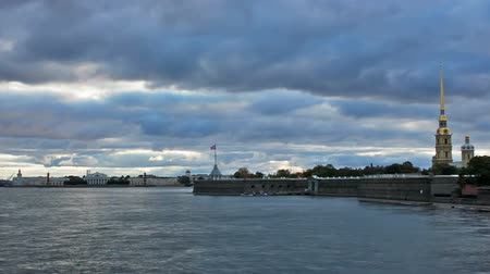vasilevsky : Vasilevsky Island, and Peter and Paul Fortress, timelapse. St. Petersburg, Russia