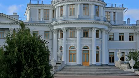 exterior : Yelagin Palace. Yelagin Island. Museum. Saint Petersburg, Russia. Designed by the architect Carlo Rossi, sculpters by Stepan Pimenov, 1822. Stock Footage