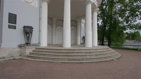 regal : Pavilion under flag, steady smooth motion. Yelagin Island. Museum. Central Park of Culture and Leisure, 2013, St. Petersburg, Russia