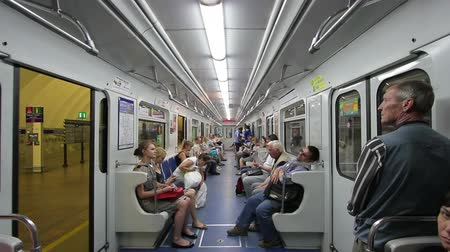 метро : Departure subway train at station Staraya Derevnya, Saint Petersburg Metro, Russia Стоковые видеозаписи
