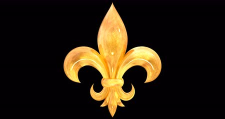 lilie : Heraldic lily (fleur-de-lis) isolated on alpha channel, golden Dostupné videozáznamy