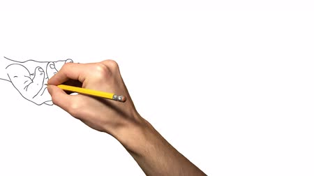 rajzoló : Two hands holding a heart Whiteboard Animation. Pencil hand, drawing two hands and a heart
