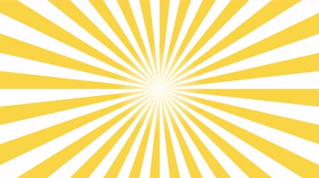 japonya : Yellow and white sunburst circle and background pattern animation. Back Pop Art Style yellow background motion video 4K Stok Video